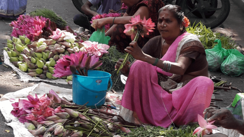 Flower seller outside the temple